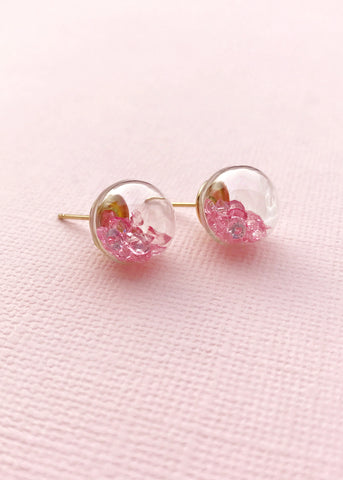 Pink Crystal Glass Earrings
