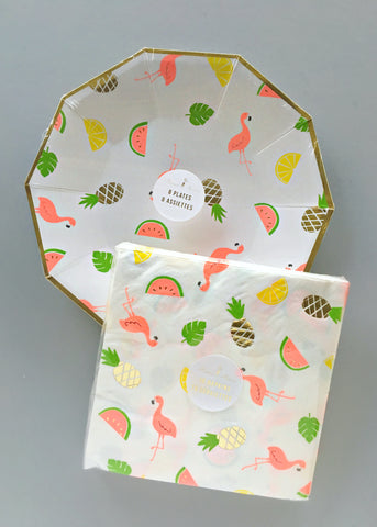 Flamingo & Pineapple Plate & Napkin Set