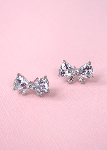 Cubic Zirconia Crystal Bow Earrings