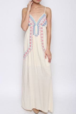 Bella Embroidered Maxi - White