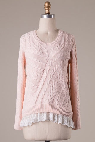 Blushing Ballerina Lace Sweater