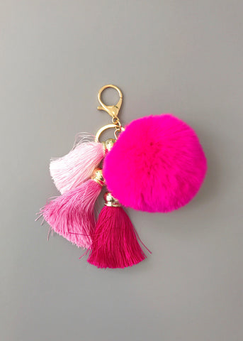 Hot Pink Faux-Fur Keychain