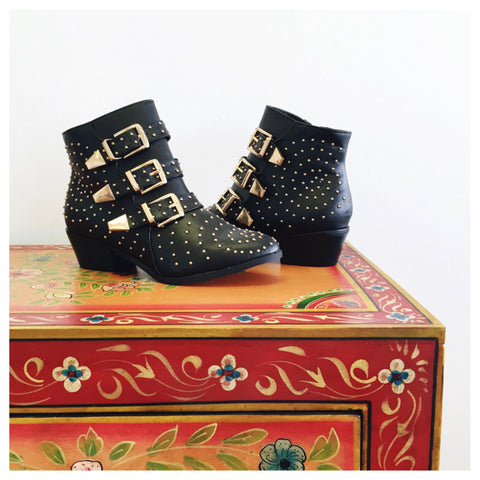 Black Studded Esmerelda Booties