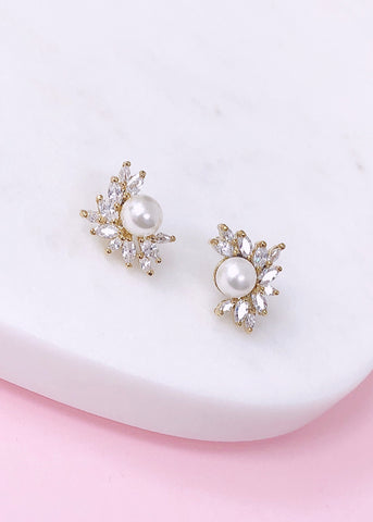 Anya Pearl Crystals Stud Earrings