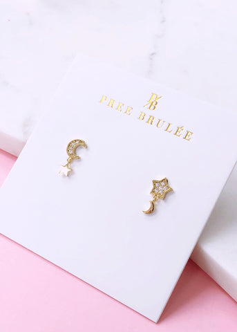 Amore Moon & Star Earrings