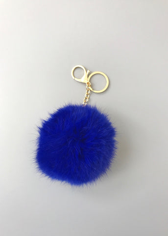 Luxe Faux-Fur Keychain - Royal Blue