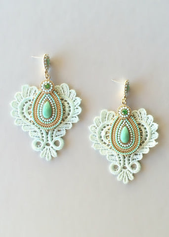 Fairy Mint Lace Earrings