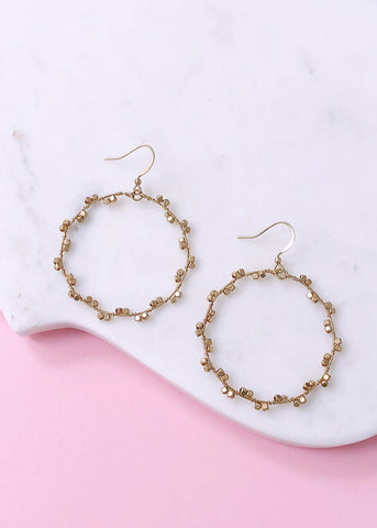 Grecian Rose Hoop Earrings