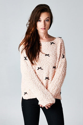 Blushing Rose Bows Sweater