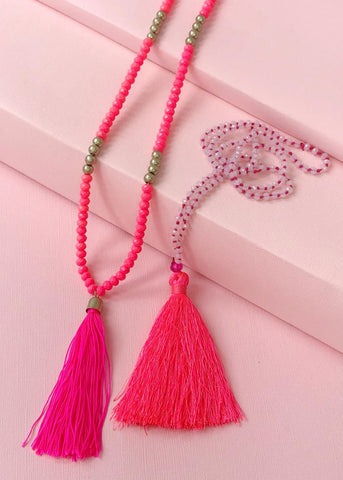 Brigtest Pink Tassel Necklace Set