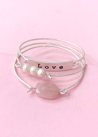 Love Silver Bangle Set