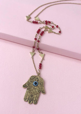 Red Hamsa Hand Necklace