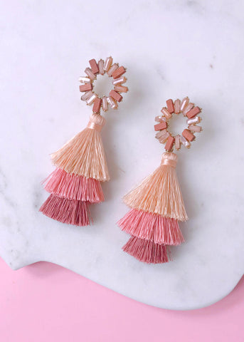 Blushington Layered Tassel Earrings