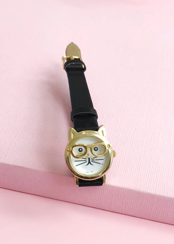 Adorable Cat with Glasses Watch