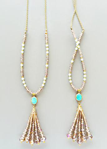 Zooey Crystal Tassel Necklace
