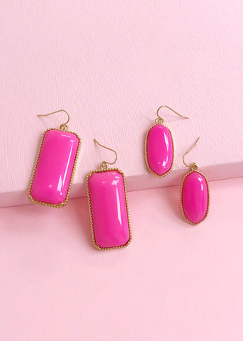 Hot Pink Champagne Earring Set