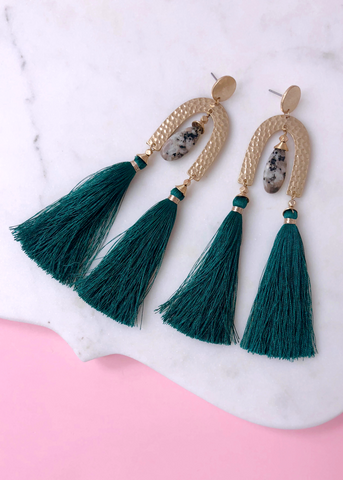 Marabella Statement Earrings - Teal Green