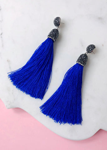 Eliza Shimmering Tassel Earrings - Royal Blue