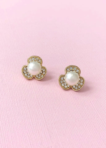 Floral Pearl Stud Earrings