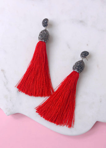 Eliza Shimmering Tassel Earrings - Red