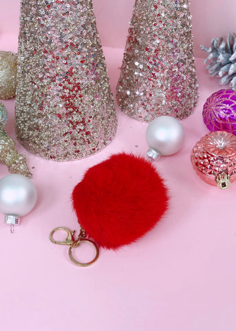Red Faux-Fur Keychain