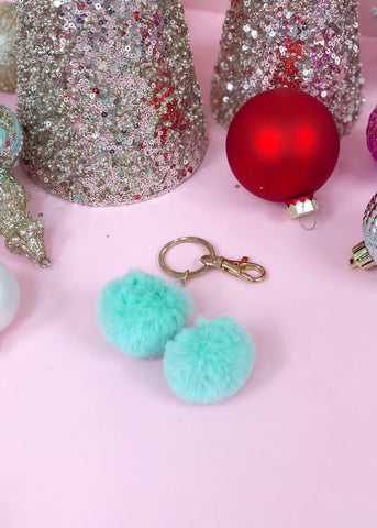 Mint Faux-Fur Keychain