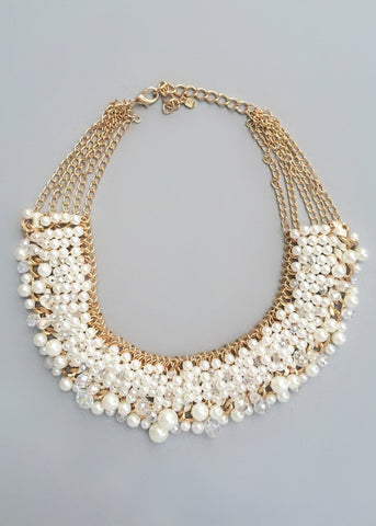 Aubrey Pearl & Crystal Clusters Necklace