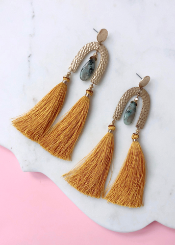 Marabella Statement Earrings - Mustard