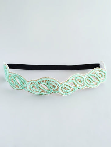 Mint Farah Beaded Headband