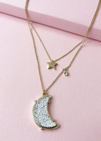 Silver Druzy Moon Necklace
