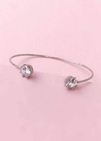 Silver Crystal Crown Bangle