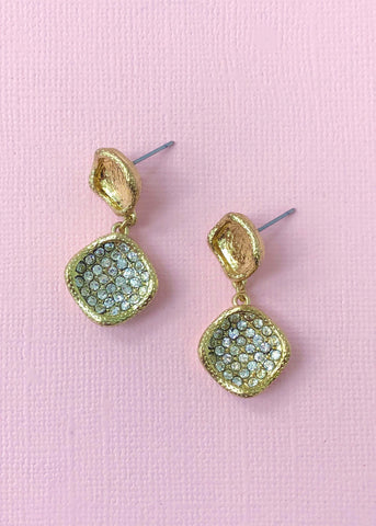 Gold Hammered Crystal Earrings