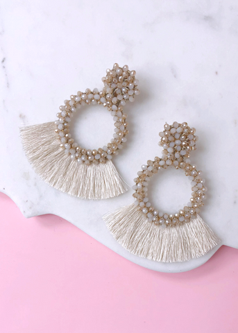 Beaded Maya Earrings - Beige