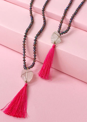 Pink Tassel Quartz Necklace