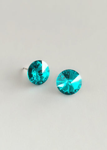 Teal Crystal Stud Earrings