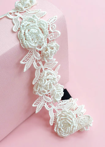 Floral Lace Beaded Headband