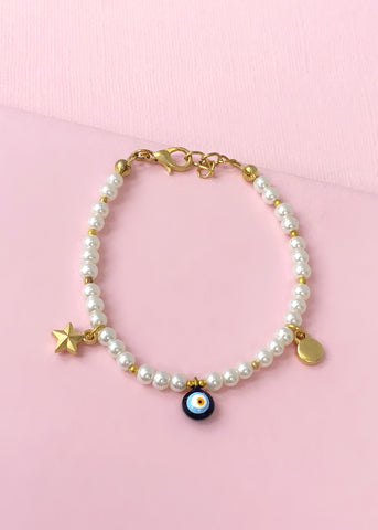 Pearl Gold Evil Eye Bracelet - Made in Turkey