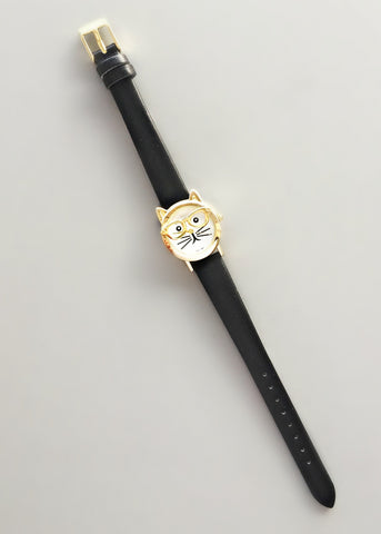 Adorable Cat & Glasses Watch - Black