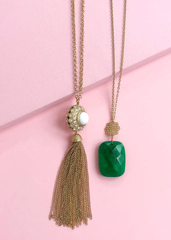 Emerald Malachite Necklace Set