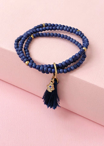 Royal Blue Hamsa Bracelet Set