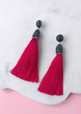 Eliza Shimmering Tassel Earrings - Darling Pink