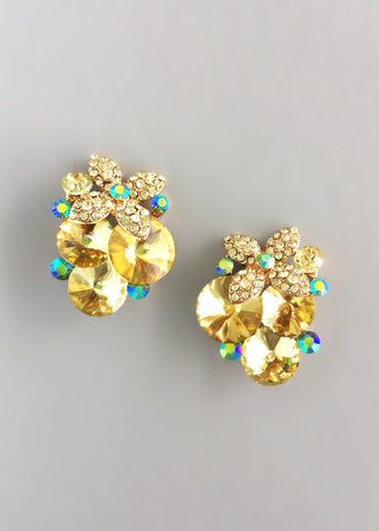 Yellow Starburst Clusters Earrings