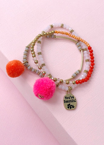 You Are Beautiful Pom Pom Bracelet Set