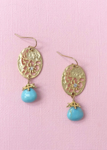 Desert Rose Turquoise Earrings - Made in NYC