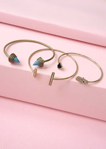 Hamsa & Good Luck Charms Bangle Set