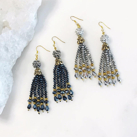Dazzling Crystal Tassel Earrings