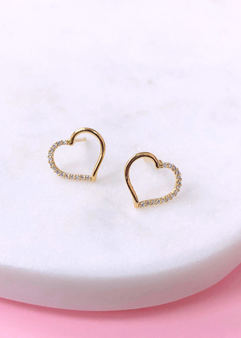 Crystal Heart Earrings - 14K Gold Plated