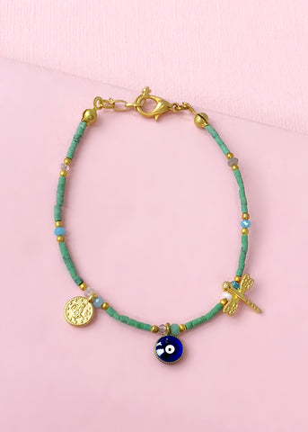 Green Evil Eye Bracelet - Made in Turkey