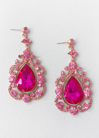Glamorous Pink Soiree Earrings