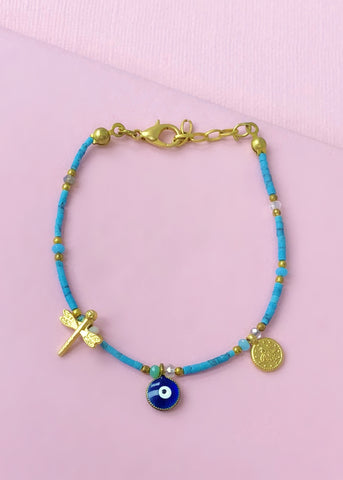 Turquoise Evil Eye Bracelet - Made in Turkey